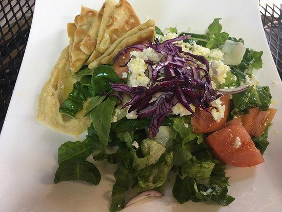 Erik's Gyros & International Deli: Greek Salad with Romaine? + pasta and stake pieces