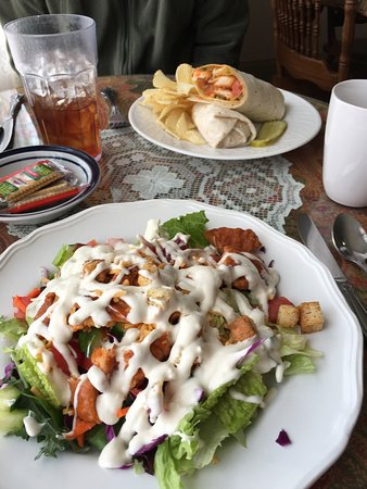 Belvidere, NC: Yummy salad with Buffalo chicken; Buffalo chicken wrap.  Both generous and delicious!