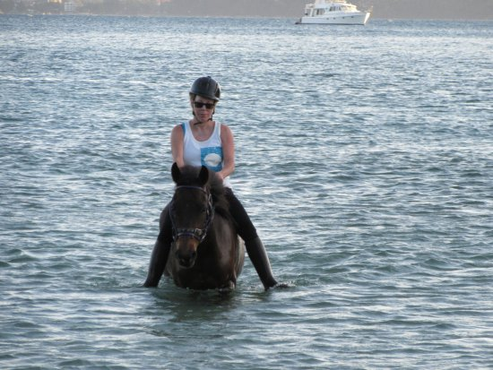 Cherngtalay, Tailandia: Me and my mount Tuber coming out of the cove of the Andaman sea after horse surfing bareback.