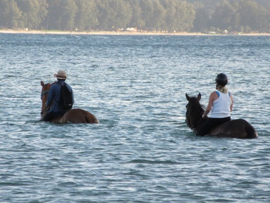 Choeng Thale, Thailand: Enjoying horse surfing with my guide friend and his mount the mare Natalie