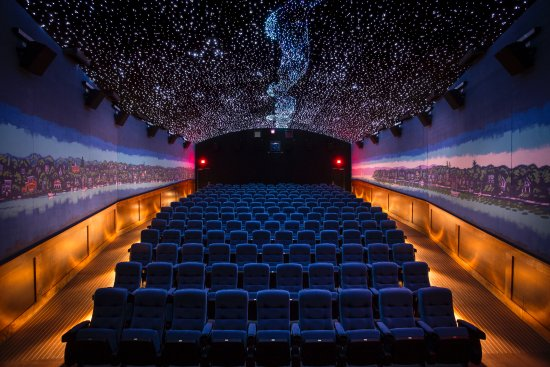 Harbor Springs, MI: Our main movie theatre features a beautiful starry sky, harbor mural, & comfortable seating for