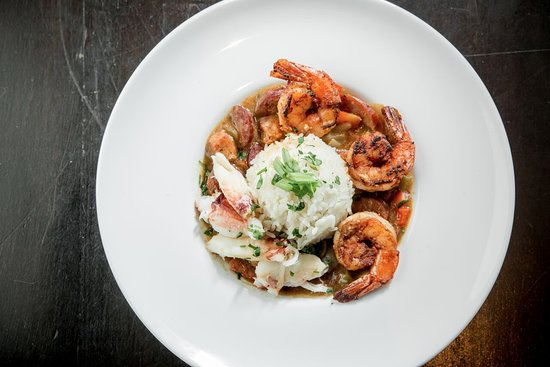 Old Skool Cafe: New Orleans classic made with andouille sausage, chicken, shrimp, and Dugeness Crab over rice