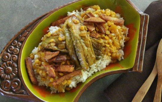 Lawai, HI: Gheymeh Bademjan ~ Kauai-grown eggplant stew with yellow split peas, tomato, caramelized onion