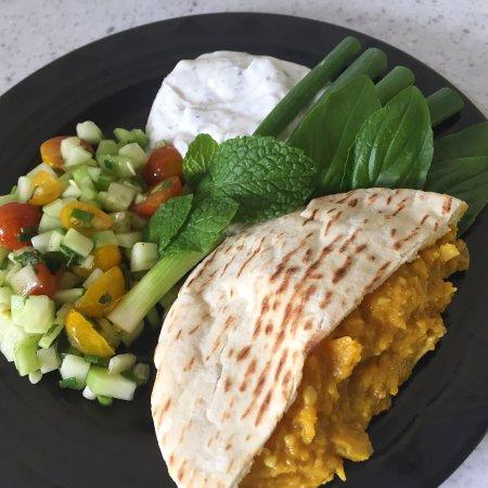 Lawai, HI: Borani Kadu ~ Kauai-grown butternut squash spread with cucumber salad and herb yogurt