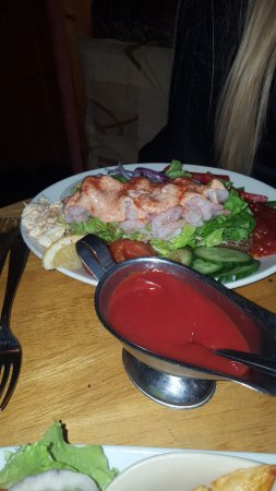Donaghadee, UK: open prawn salad