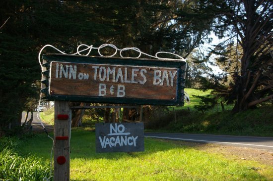 Inn on Tomales Bay: You can't miss the entrance. The sign is illuminated at night.