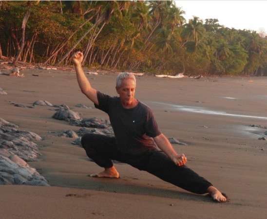 Pavones, Costa Rica : Dr. Bob Bacher, your host and tai chi teacher, practicing on a remote stretch of beach in Pavone