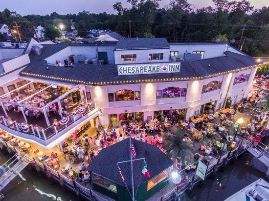 Chesapeake City, MD: Overhead view of the Deck & Terrace of Chesapeake Inn