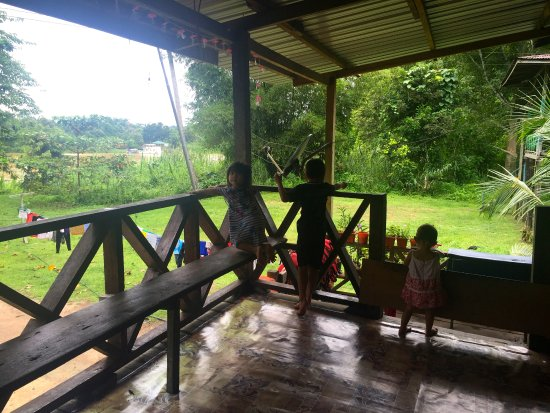 Sukau, Malaysia: View of the communal area veranda