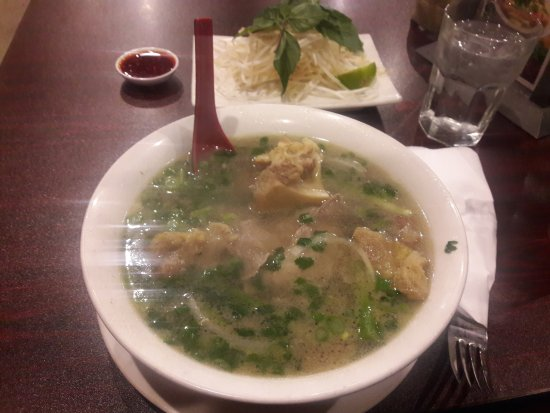 Poulsbo, WA: Oxtail pho, in the back, bean sprouts with lime and sauce.