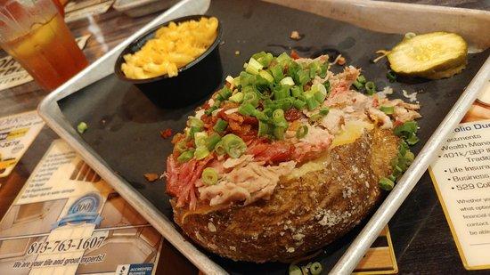 Grandpa Johnson's Barbecue: Baked Potato topped with Pork