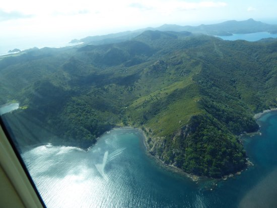 Earthsong Lodge: View of the island from the flight in.