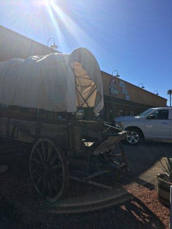 El Ranchero Restaurant: Front of restaurant - see the wagon?