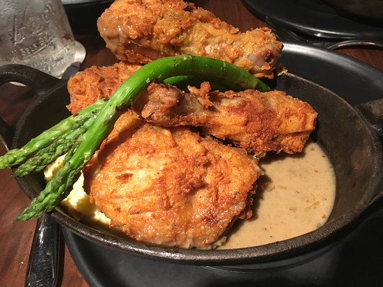 Fried Chicken With Yummy Goat Cheese Pollen And Fresh Asparagus