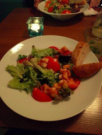 salad with caramelized haloumi