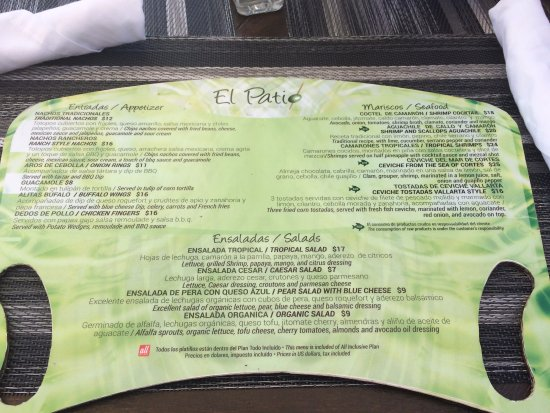 Hacienda Encantada Resort & Residences: Current (Feb 2017) El Patio menu side 1