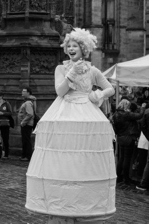 Tours of Edinburgh: Lady Street Performer on Royal Mile, Edinburgh Fringe Festival, Edinburgh, Scotland by David Whe