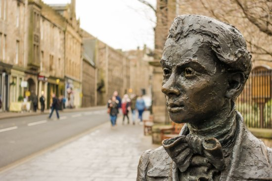 Tours of Edinburgh: Statue of Scottish Poet Robert Fergusson (1750-1774) outside Kirk of the Canongate by David Whea