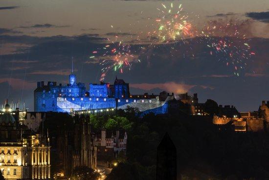 Tours of Edinburgh: Edinburgh Castle, St Andrew's Cross (Saltire) and Fireworks, Edinburgh Tattoo by David Wheater