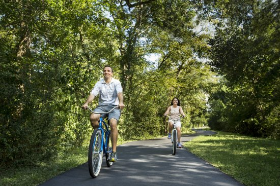 The Woodlands, TX: Couple On Bike Trail