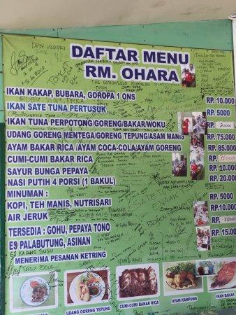 Gorontalo, Endonezya: Menu and phone number to pre order