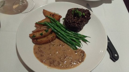 Chez Loma: Filet Mignon with herbed potatoes, green beans, and a mushroom sauce that was mmmmmmm so good!