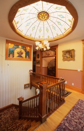 Bellevue, IA: Upstairs Hallway and 36-panel Stained Glass Dome