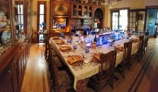 Bellevue, IA: The Dining Room set for the Titanic Dressed for Dinner