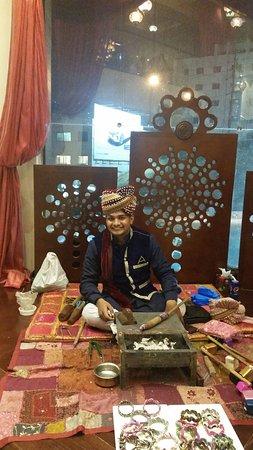 Indian staff creating bracelets by order @Chapatti Amman JORDAN