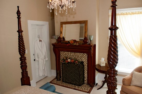 Jacksonville, IL: Each suite has an all season electric fireplace.
