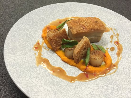 Mascot, Australia: Confit Pork Belly with Scallops - Sirocco Restaurant