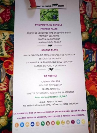 Vacarisses, إسبانيا: Menú medio día