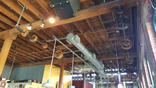 Ceiling Of Dining Area With Spindles From When It Was A Wire Factory