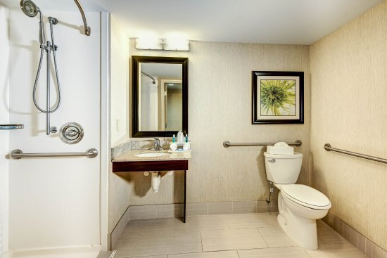 Neptune, NJ: Accessible King Room Bathroom with Roll-In Shower