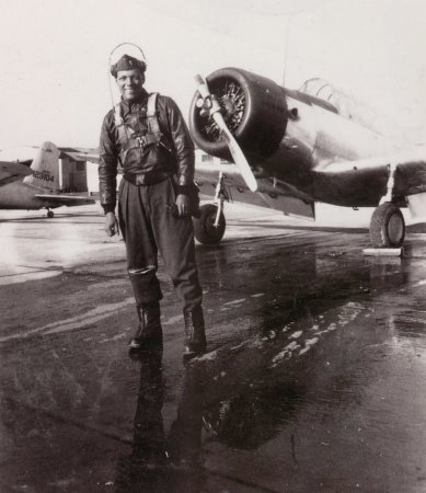 Wilmington, DE: Tuskeegee pilot in front of his plane ca. 1940s, photo by Mr. Littleton Mitchell