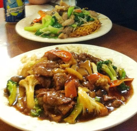Cleveland, Australia: Beef and Oyster sauce (Front) Chicken and Crispy Noodles (Rear)