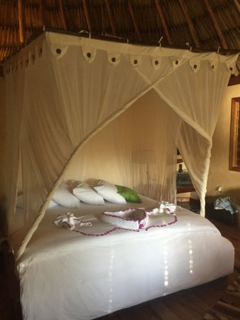 Gaia Riverlodge: King size very comfortable bed upstairs (husband arranged for special bday decorations)