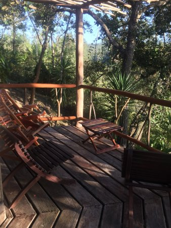 Gaia Riverlodge: Balcony off downstairs room with view and sounds of waterfalls!