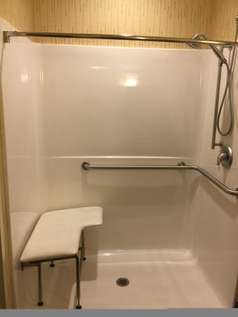 Bradford, PA: ADA/Handicapped accessible Guest Bathroom with roll-in shower