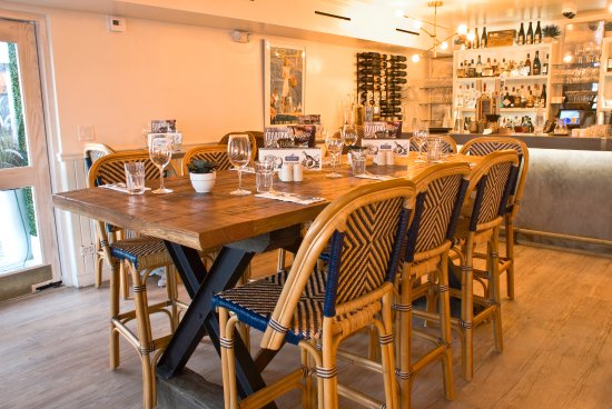 Flatts Village, Bermuda: Our large central table in our bar area - great for communal dining or large groups!