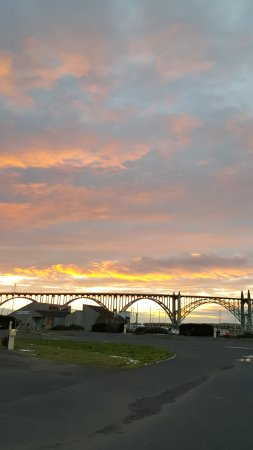 Port of Newport RV Park : The sunset, and a partial view of sites