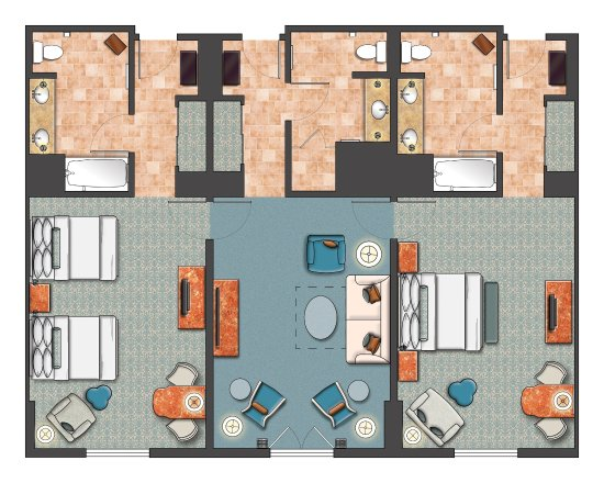 Room diagram 2 bedroom portofino parlor suite picture for Hotel bedroom layout design