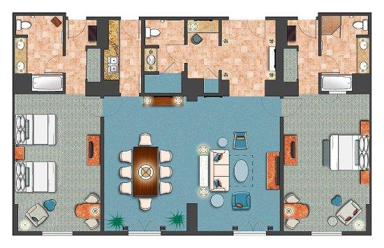 Room diagram 2 bedroom villa parlor suite picture of - 2 bedroom hotel suites in orlando fl ...