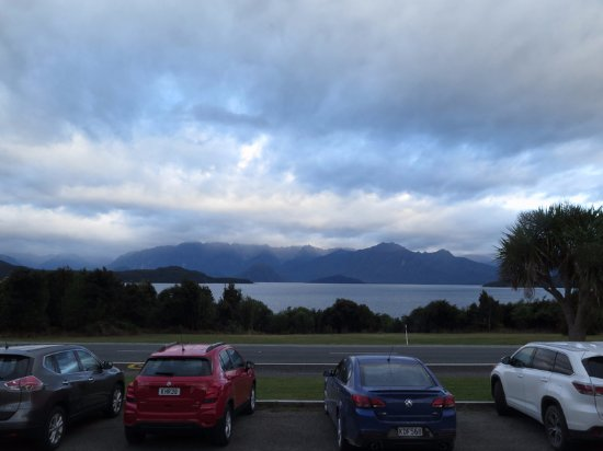 Manapouri, New Zealand: The view from the porch in front of our room - same view from the room.