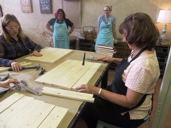 McKinney, TX: distressing the pine boards