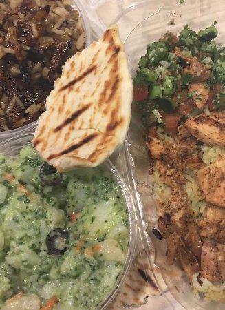 Mr. Falafel : chicken shawarma, tabbouleh, lentil - rice and onion salad, and Lebanese potato salad!!