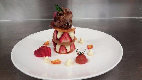 Saint Arnaud, New Zealand: Kirsh tomatoes, basil cream, fresh strawberries, crystallized rhubarb...
