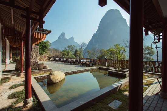 Views From The Li River Resort Towards The Li River And Karst Peaks
