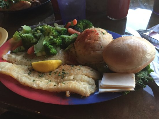 Virginia's On The Bay: Flounder Special -Fish, Garlic Potatoes, Steamed Veg's, Bread