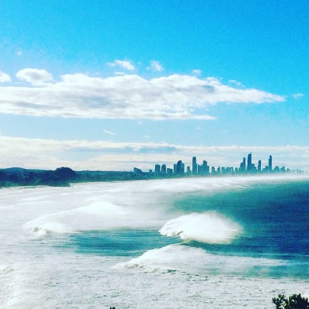 Gold Coast, Australia: Surfers and beach from Burleigh